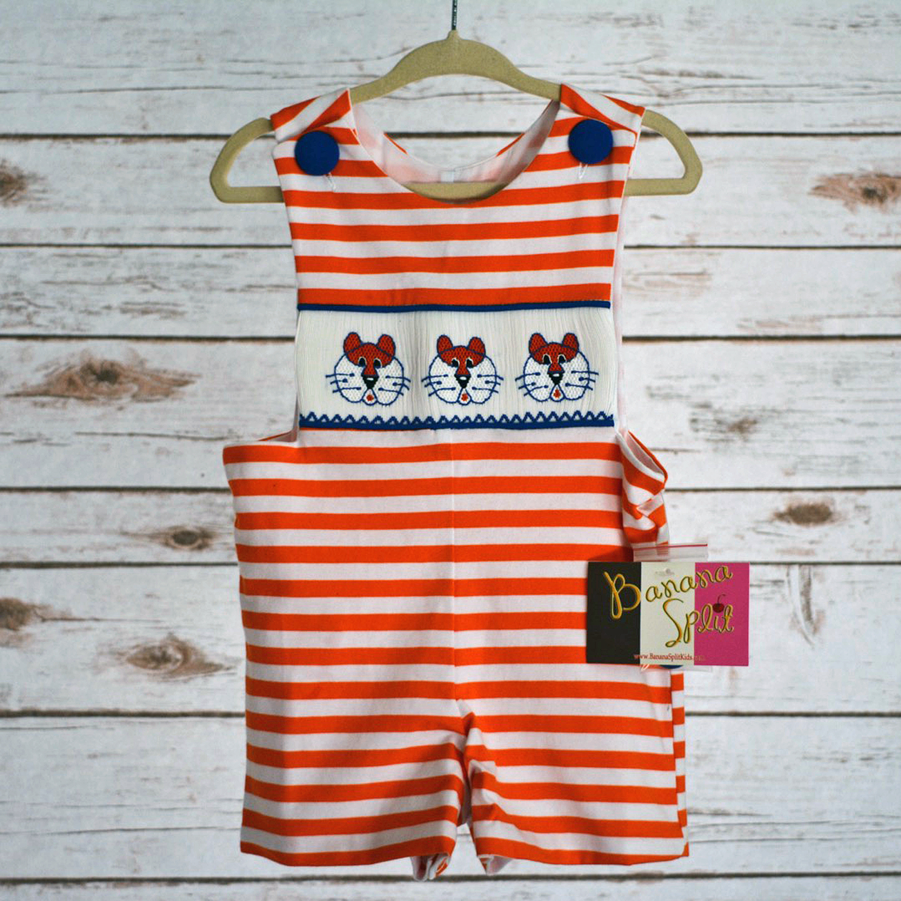 Tigers Smocked Jon Jon | Princess and Punks