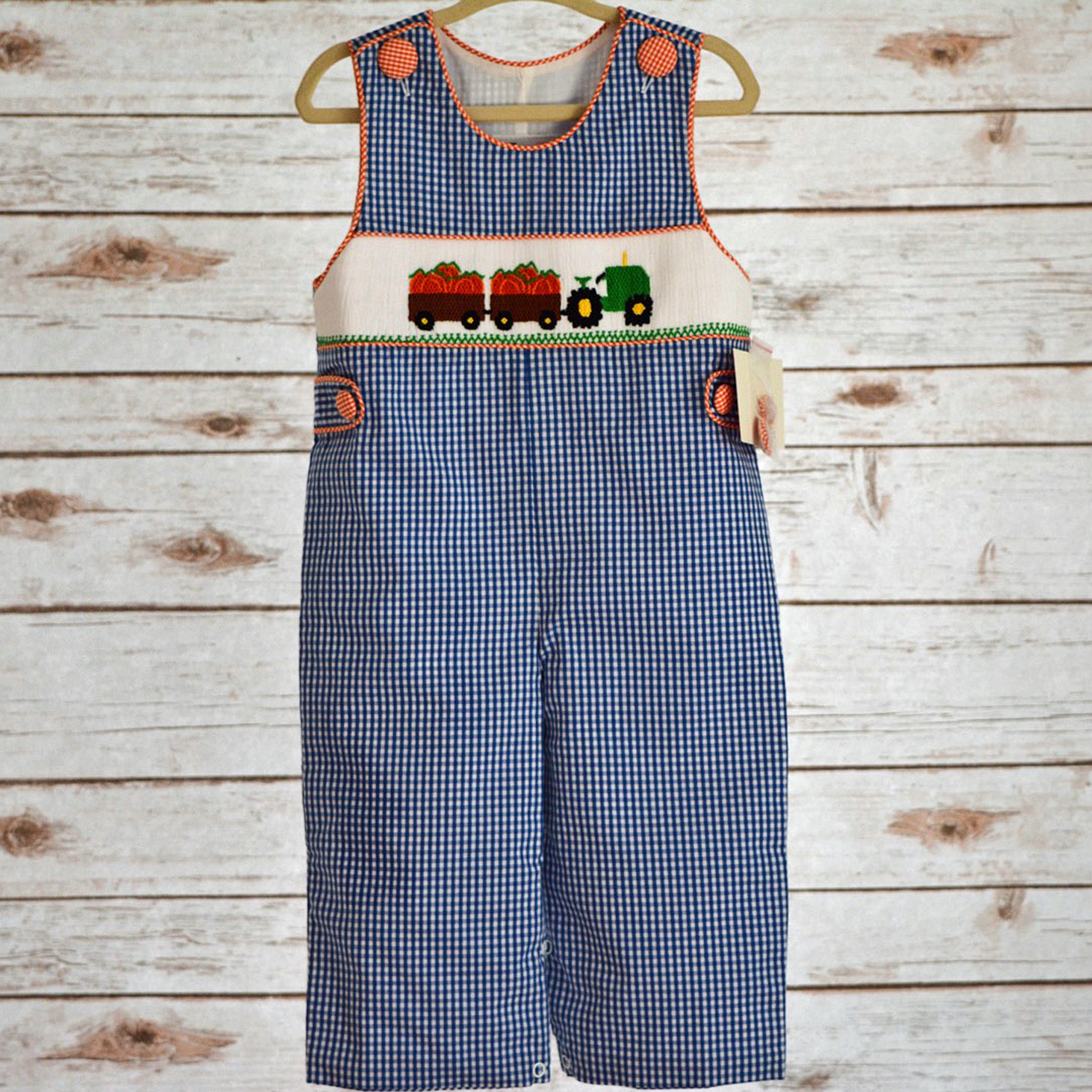 Pumpkin/Tractor Boys Smocked Longall | Princess and Punks