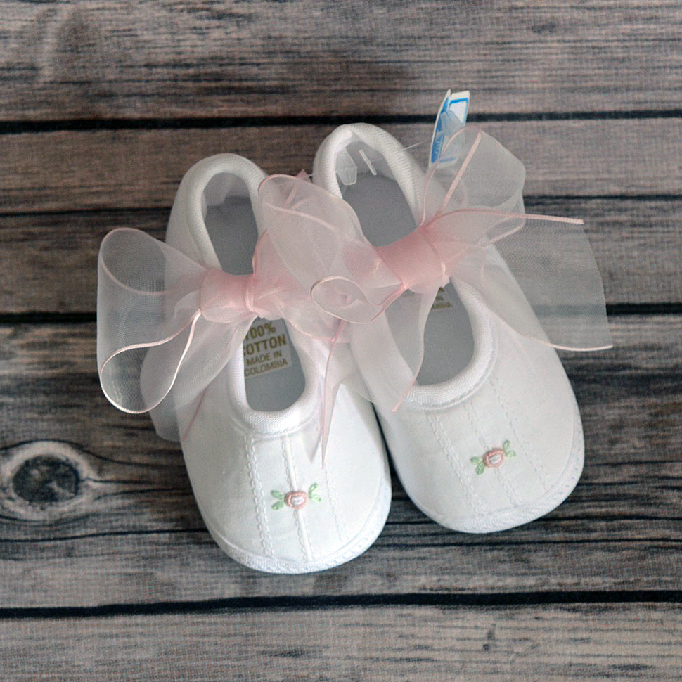 Sweet Baby Girl White Pink Shoes With Flower On Toe Princess And Punks